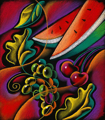 Healthy Fruit Print by Leon Zernitsky