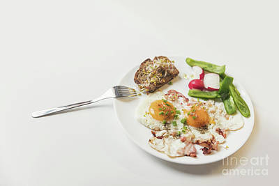 Meat Photograph - Healthy Vegetarian Breakfast On A White Plate. by Michal Bednarek