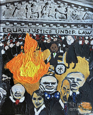 Disability Rights Painting - Hear No Evil See No Evil Judicial Abuse by Color of Law