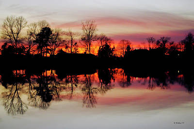 Hearns Pond Photograph - Hearns Pond Dusk Silhouette by Brian Wallace