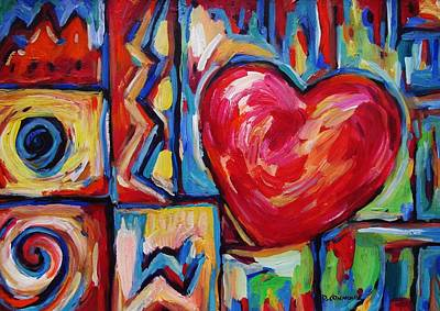 Painting - Heart Among Turquoise by Dianne  Connolly