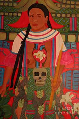 Curandera Painting - Heart And Hands Of Coatlicue by Gabrielle Pescador