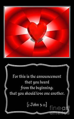 Digital Art - Heart And Love Design 1john 3 Bible Quote by Rose Santuci-Sofranko