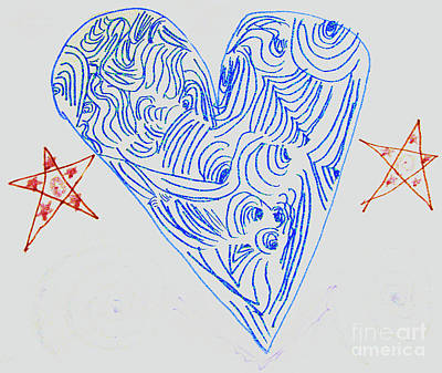 Drawing - Heart And Stars - Modern Art By 7 Year Old Mia M.. by Merton Allen