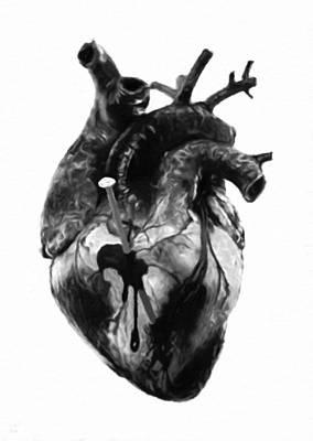 Black-and-white Digital Art - Heart Attack by Katrina Britt