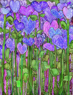 Print featuring the mixed media Heart Bloomies 1 - Purple by Carol Cavalaris