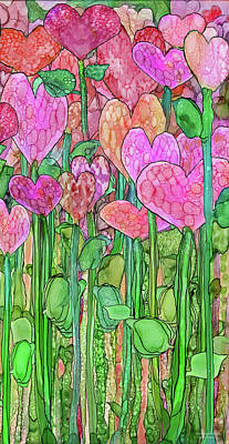 Print featuring the mixed media Heart Bloomies 2 - Pink And Red by Carol Cavalaris