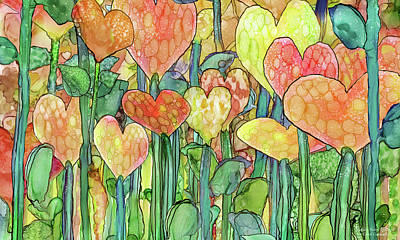 Print featuring the mixed media Heart Bloomies 3 - Golden by Carol Cavalaris