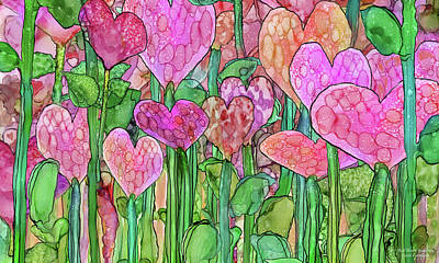 Print featuring the mixed media Heart Bloomies 3 - Pink And Red by Carol Cavalaris