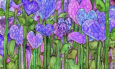 Print featuring the mixed media Heart Bloomies 3 - Purple by Carol Cavalaris