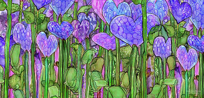 Print featuring the mixed media Heart Bloomies 4 - Purple by Carol Cavalaris