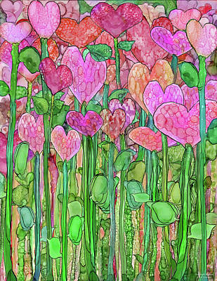 Print featuring the mixed media Heart Bloomies 1 - Pink And Red by Carol Cavalaris