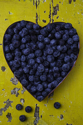 Heart Box With Blueberries Print by Garry Gay