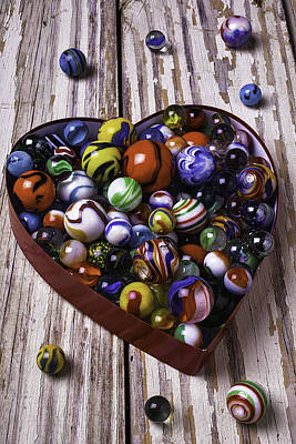 Heart Box With Marbles Print by Garry Gay