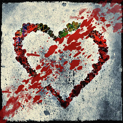 Mixed Media - Heart Breaker Grunge by Georgiana Romanovna