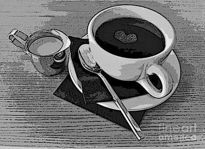 Photograph - Heart Coffee Drawing Style by Paulette Thomas