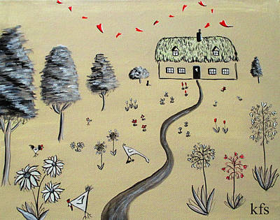 Bird Painting - Heart Cottage Red 1  by Kathy Spall