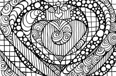 Drawing - Heart Crown Tangle by Nada Meeks