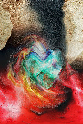 Print featuring the digital art Heart Deep by Linda Sannuti
