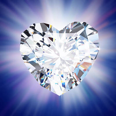 Heart Diamond Art Print by Setsiri Silapasuwanchai