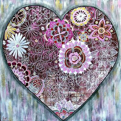Wall Art - Painting - Heart Doodle Art by Carol Iyer