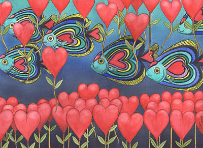 School Of Fish Painting - Heart Fish by Catherine G McElroy
