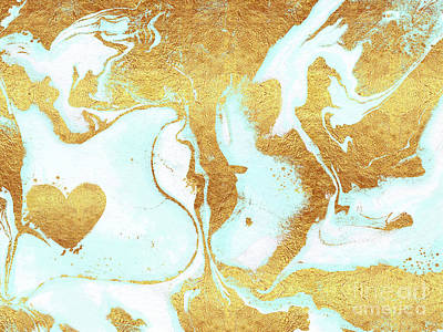 Abstract Earth Map Painting - Heart In A Whirl, Map To My Heart Valentine Abstract by Tina Lavoie