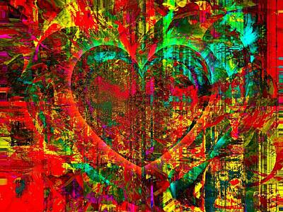 Art Print featuring the mixed media Heart In Flame by Fania Simon
