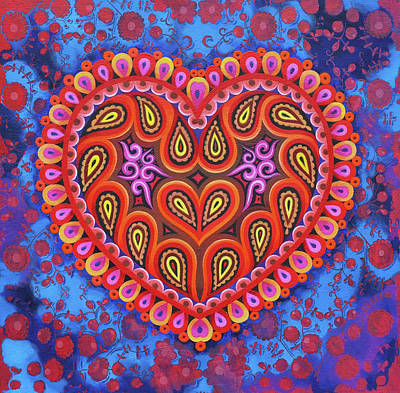 Folk Art Painting - Heart by Jane Tattersfield
