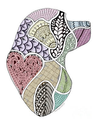 Drawing - Heart Labrador Doggie Doodle by Amy Reges