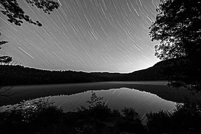 Photograph - Heart Lake Star Trail Adirondacks North Elba Black And White by Toby McGuire