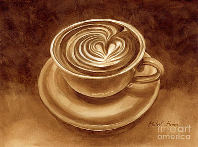 Print featuring the painting Heart Latte by Hailey E Herrera