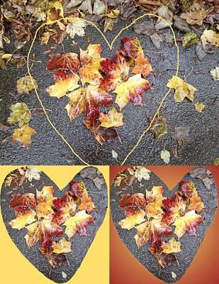 Mixed Media - Heart Leaf Group 2 Photo Art by Julia Woodman
