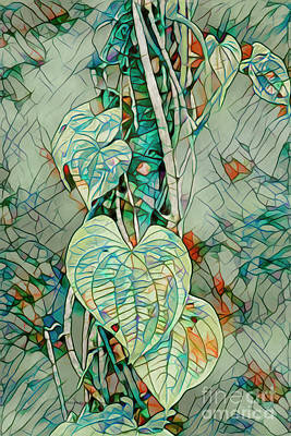 Mixed Media - Heart Leaf Mosiac by Deborah Benoit