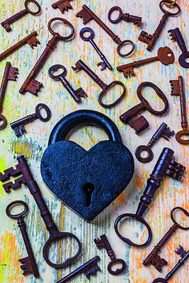 Photograph - Heart Lock And Old Keys by Garry Gay