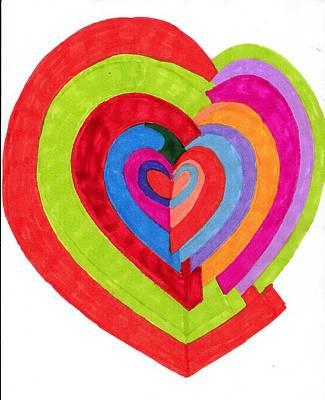Heart Maze Art Print by Brenda Adams