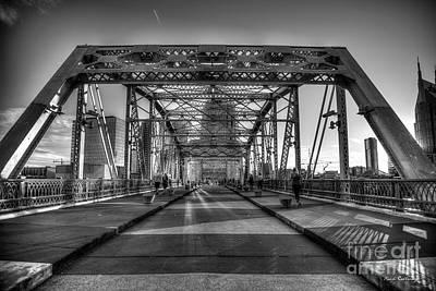 Photograph - Heart Medicine B W The John Seigenthaler Pedestrian Bridge  Nashville, Tennessee Ar by Reid Callaway