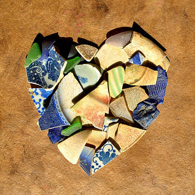 Ceramic Mixed Media - Heart Mosaic 1 by Adam Riggs
