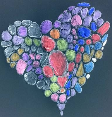 Drawing - Heart Mosaic by Yshua The Painter