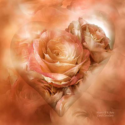 Mixed Media - Heart Of A Rose - Gold Bronze by Carol Cavalaris