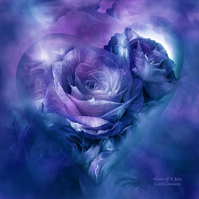 Mixed Media - Heart Of A Rose - Lavender Blue by Carol Cavalaris