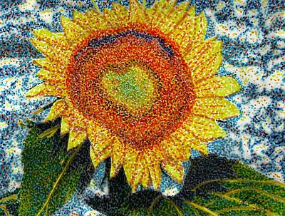Drawing - Heart Of A Sunflower by Angela Davies