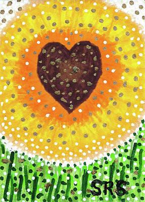 Drawing - heART Of A Sunflower by Susan Schanerman