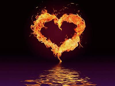 Digital Art - Heart Of Fire And Water Art by Sheila Mcdonald