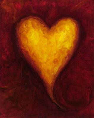 Red Heart Painting - Heart Of Gold 1 by Shannon Grissom
