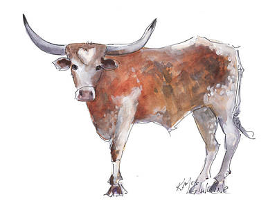 Cow Wall Art - Painting - Heart Of Texas Longhorn by Kathleen McElwaine