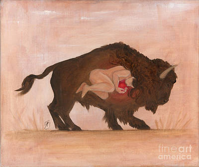 Painting - Heart Of The Buffalo by Brandy Woods