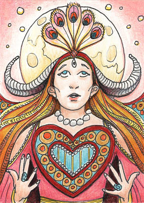 Prayer Drawing - Heart Offering by Amy S Turner