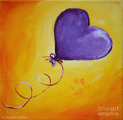 Painting - Heart On A Curly String by Susan Herber