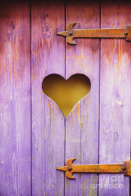 Antique Outhouse Photograph - Heart On A Wooden Window by Bernard Jaubert